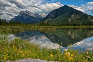 Картинка Пейзаж Канада Парки Горы Озеро Банф Облака Траве Vermillion Lakes