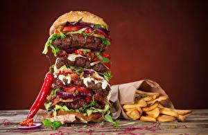 Фотография Быстрое питание Гамбургер Перец Картофель фри Булочки