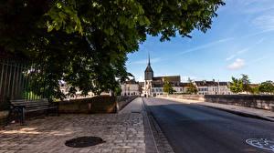 Картинка Франция Дома Дороги Скамья Romarantin Города