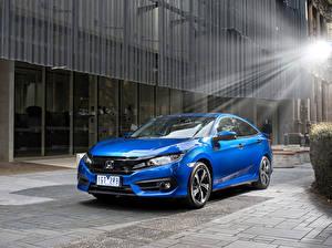 Обои Honda Металлик Синий Седан 2016 Civic Sedan RS машины
