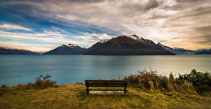 Фото Горы Побережье Новая Зеландия Скамейка Queenstow Природа