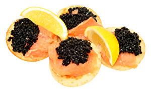 Картинка Бутерброды Рыба Икра Лимоны Белый фон Еда