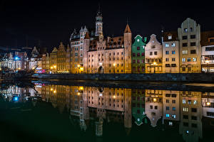 Фото Польша Здания Реки Гданьск Ночь Города