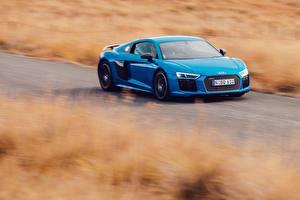 Фото Ауди Голубых R8 V10 Plus Автомобили