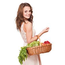 Картинка Овощи Шатенки Улыбка Белый фон Девушки
