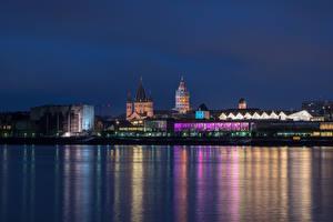 Обои Германия Здания Речка Майнц Ночью