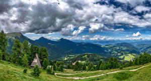 Фотографии Пейзаж Италия Горы Небо Облака Деревья Bolzano Природа