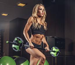 Обои Фитнес Блондинка Штанга Униформа Живот Девушки Спорт