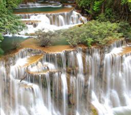 Обои Таиланд Парки Водопады Huay mae Kamin waterfall Kanchanaburi Природа фото