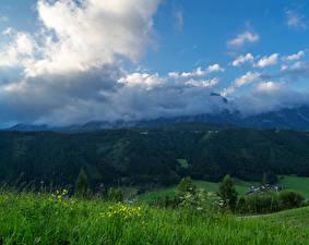 Обои Швейцария Гора Лес Небо Альпы Траве Облака Природа