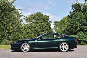 Картинки Феррари Зеленый Сбоку 2002-06 575 M Maranello F1 Pininfarina Авто