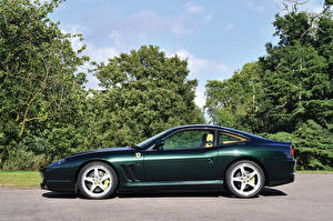 Обои Ferrari Зеленый Сбоку 2002-06 575 M Maranello F1 Pininfarina Автомобили фото