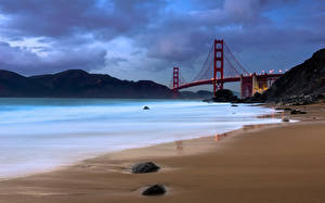Фотографии Побережье Мосты США Сан-Франциско The Golden Gate Bridge Природа