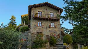 Обои Испания Дома Дизайн Лестница Кусты Rupit i Pruit Catalonia Города фото