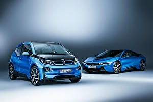 Фото BMW Двое Голубая i8 Coupe i3 машина