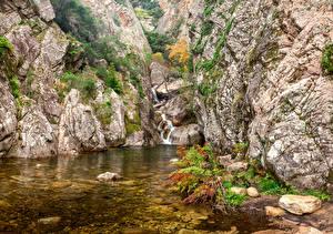 Обои Франция Водопады Камень Утес Corsica