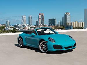 Картинка Porsche Кабриолета Голубых 911 Carrera S Автомобили