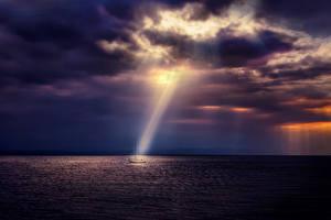 Обои Пейзаж Море Небо Яхта Ночью Лучи света Природа