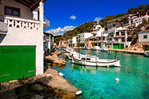Фотография Испания Здания Лодки Мальорка Майорка Водный канал Cala Figuera