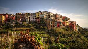 Картинки Италия Дома Чинкве-Терре парк Лигурия Corniglia Города