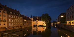 Картинка Германия Дома Реки Нюрнберг Ночь