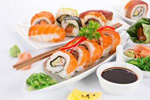Фотография Морепродукты Суси Палочки для еды Еда