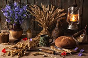 Обои Натюрморт Хлеб Керосиновая лампа Лампы Колосок Вазе Пища