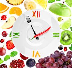 Картинки Фрукты Часы Дизайна Вилка столовая Еда