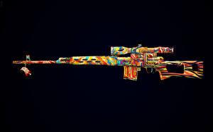 Фотография Векторная графика Снайперская винтовка Черный фон Армия