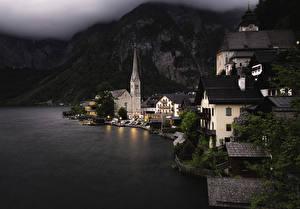 Фото Австрия Здания Озеро Горы Вечер Халльштатт
