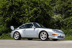 Картинка Порше Серебряный Сбоку 1995 911 Carrera RS Club Sport машины