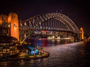 Обои Австралия Мосты Сидней Ночь Уличные фонари Заливы Harbour Города
