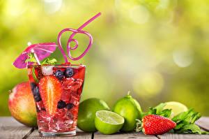 Обои Напитки Цитрусовые Ягоды Стакан Пища