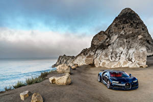 Фотографии BUGATTI Побережье Горы Камень Роскошная Синяя Металлик 2016 Chiron North America Автомобили Природа