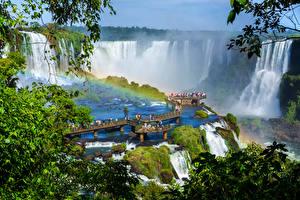 Картинка Аргентина Водопады Мосты Радуга Iguazu Falls
