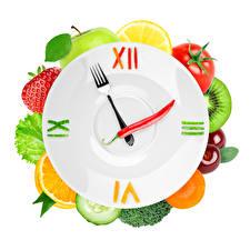 Фотографии Часы Овощи Фрукты Дизайна Тарелка Еда