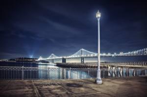 Фотографии Мосты Штаты Ночные Сан-Франциско Bay Bridge