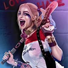 Картинки Харли Квинн герой Пистолетом Отряд самоубийц 2016 Марго Робби Блондинок Макияж кино Девушки Знаменитости