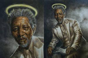 Обои Рисованные Мужчины Негр Morgan Freeman Знаменитости фото
