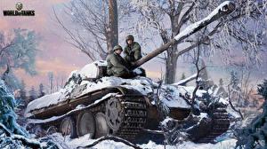 Картинки World of Tanks Танки Nikita Bolyakov Снега Pz.Kpfw. V Panther