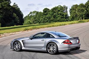 Фото Mercedes-Benz Серебристый Сбоку SL 65 AMG Автомобили