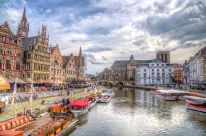 Фотография Гент Бельгия Здания Пристань Корабли Небо HDR Улице Водный канал Города