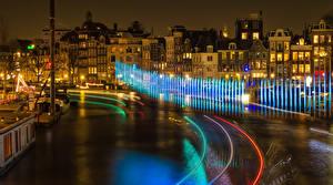 Фотография Амстердам Нидерланды Здания Дороги Ночные