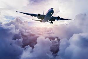 Обои Самолеты Небо Пассажирские Самолеты Облака Полет Авиация фото