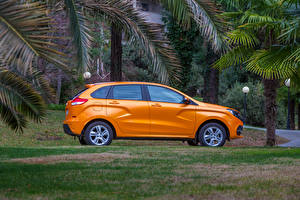 Обои Лада Оранжевый Сбоку 2015-16 XRAY (GAB) Автомобили фото