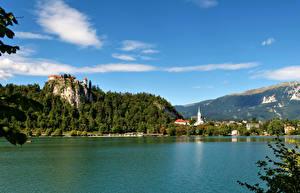 Картинка Словения Пейзаж Озеро Небо Горы Bled Природа