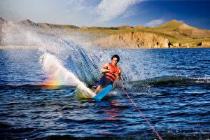 Фотография Серфинг Мужчины Брызги