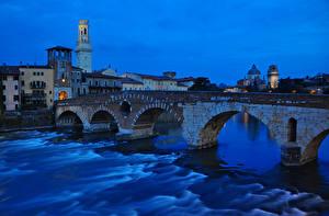 Фотографии Италия Дома Речка Мосты Верона Ночь Ponte Pietra