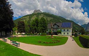 Фотография Австрия Здания Парк Горы Газон Скамья Altaussee Города