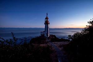 Обои Канада Побережье Маяки Небо Ночь Sherringham Point Природа фото